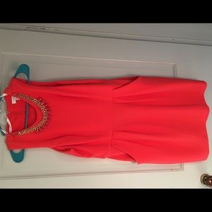 Coral Dress with attached necklace